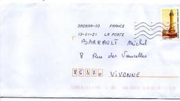 """2021--tp Adhésif  """"  Phare D' Eckmuhl """"  Seul Sur Lettre - 1961-...."""