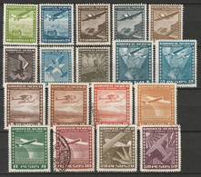 Chile 1944 Sc C90-107B  Air Post Complete Set MH*/used - Chile