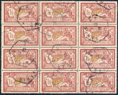 FRANCE Bloc De 12x 1fr Merson Yv.121 - Oblitéré TB ° - 1900-27 Merson
