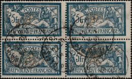 FRANCE 1900 - 5fr Merson Yv.123 - Bloc De 4 Oblitéré TB - 1900-27 Merson