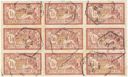"""FRANCE Bloc De 9x Yv.121 1fr Merson Obl. (1923) CàD RAU """" PARIS-4-E / E """" - 1900-27 Merson"""