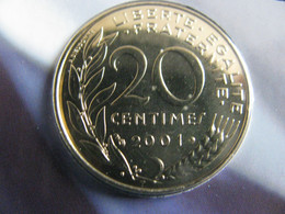 20 Centimes  2001 FDC (  BU Seulement) - E. 20 Centimes