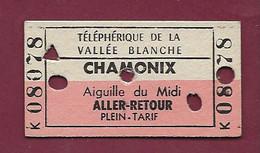 150121 TICKET CHEMIN DE FER TRAM METRO - TELEPHERIQUE VALLEE BLANCHE CHAMONIX AIGUILLE DU MIDI K08078 - Europa