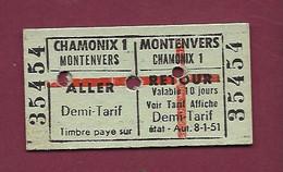 150121 TICKET CHEMIN DE FER TRAM METRO TRAIN GARE - CHAMONIX 1 MONTENVERS 35454 - Europa