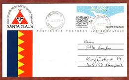 Faltbrief F 5 Hirsch In Winterlandschaft, Helsinki Nach Kempen 1991 (2922) - Entiers Postaux