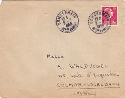 22371# MARIANNE MULLER LETTRE Obl DOMGERMAIN MEURTHE ET MOSELLE 1956 COLMAR LOGELBACH HAUT RHIN - 1921-1960: Periodo Moderno