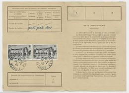 CHENONCEAUX 25FR PAIRE CARTE ABONNEMENT TIMBRES POSTES MONTPELLIER 10.2.1945 AU TARIF - 1921-1960: Periodo Moderno