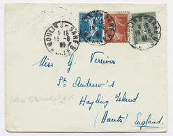N°130+138+140 LETTRE MOULINS GARE 15.8.1921 ALLIER POUR ENGLAND - 1921-1960: Periodo Moderno