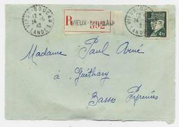 PETAIN 4FR50 SEUL DEVANT LETTRE REC C. PERLE VIEUX BOUCAU 24.6.42 LANDES - 1921-1960: Periodo Moderno