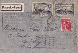 22381# LETTRE PAR AVION Obl LUNEVILLE MEURTHE ET MOSELLE Pour INDOCHINE VISITEZ LA FOIRE DE HAI PHONG DECEMBRE 1935 - 1921-1960: Periodo Moderno