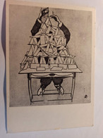 OLD USSR Postcard   - Card House - NEWSPAPER - Satirical - Carte à Jouer - Cartes - Playing Cards. OLD PC 1960s - Carte Da Gioco