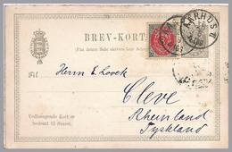 Denmark - 1891 3o+3o Double Card - Uprated Use Aarhus To Germany - Postal Stationery