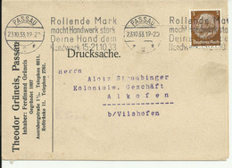 Commercial Letter/drucksache. Passau To Alkofen With Commemorative Stamp Machine. 1933 - Storia Postale