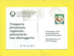 TRENI -TARGHETTE-STORIA POSTALE-ANNULLI A TARGHETTA-ISOLATI SU CARTOLINA-MARCOFILIA-IMOLA-MASSONERIA--PARTITI POLITICI- - Eisenbahnen