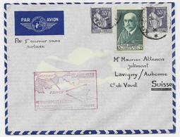 CHARCOT 65C + 55C PAIX X2 LETTRE AVION MARSEILLE 1938 POUR SUISSE - 1921-1960: Periodo Moderno