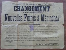 CREUSE. Canton De CROCQ. Création De NOUVELLES FOIRES à MÉRINCHAL. Affiche De 1887 Avec Timbre Fiscal. - Affiches