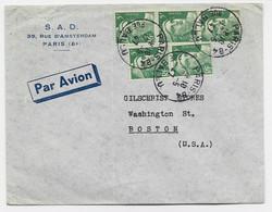 GANDON 5FR VERTX5 LETTRE AVION PARIS 12.5.1947 POUR USA AU TARIF - 1945-54 Marianne (Gandon)
