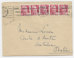 GANDON 3FR X5 LETTRE AVION PARIS V 31 MARS 1947 POUR ITALIE   AU TARIF - 1945-54 Marianne (Gandon)