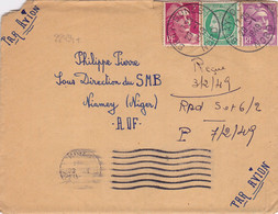22434# MARIANNE GANDON CERES LETTRE Obl BRAY DUNES NORD 1948 Pour NIAMEY NIGER AOF - 1921-1960: Periodo Moderno