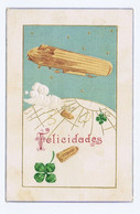 F327) ZEPPELIN Illustration Greeting Card Aviation Trèfle Bonne Chance Good Luck Greating Card 1909 - Unclassified