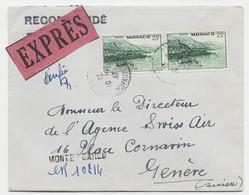 MONACO 25FR PAIRE LETTRE REC PROVISOIRE EXPRES MONTE CARLO 10.10.1947 POUR SUISSE + HOTEL DE PARIS MONTE CARLO - Covers & Documents