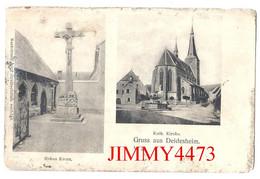 POSTKARTE - DEIDESHEIM En 1918 - Kath. Kirche - Hohes Kreuz - Gruss Aus Deidesheim Rhénanie Palatinat - Deidesheim