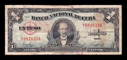 Cuba 1 Peso José Martí 1949 Pick 77a BC F - Cuba