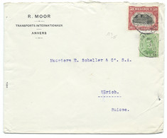 ENVELOPPE BELGIQUE 1919 POUR ZURICH SUISSE / 123 / MOOR TRANSPORTS INTERNATIONAUX ANVERS - Cartas