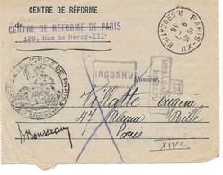 1936 PARIS - CENTRE DE REFORME POUR VILLATTE EUGENE AVENUE REILLE - SURCHARGE INCONNU RETOUR ENVOYEUR 27 - Documentos
