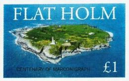 ENGLAND - FLATHOLM - Aerial View Of Island, Marconi  - Imperf Single Stamp - Mint Never Hinged No Gum - Local Cinderella - Cinderellas