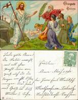 Jesus - Männer, Frauen - Goldrand Präge AK Ostern 1913 Goldrand - Pascua