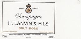 Etiquette Champagne H. LANVIN & FILS (Charles De Cazanove à Epernay) - BRUT ROSE - Champagne