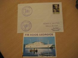 AGIOS GEORGIOS 5618 Cruise Ship Cover Paquebot 198? Cancel GREECE + Image - Cartas