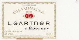 Etiquette Champagne L. GARTNER à Epernay - CARTE BLANCHE - Champagne
