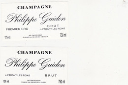 2 Etiquettes Champagne Philippe Guidon à Pargny-les-Reims / BRUT - Champagne