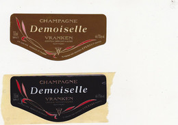2 Etiquettes Champagne Demoiselle VRANKEN Château Des CASTAIGNES MONTMORT / BRUT - Champagne
