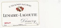 Etiquette Champagne LEMAIRE-LAGOUTTE à Damery / BRUT - Champagne