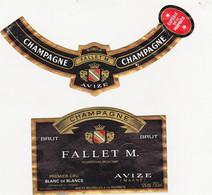 Etiquette Champagne FALLET M. à AVIZE / BRUT Blanc De Blancs - Champagne