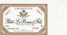 Etiquette Champagne Petit-Le Brun & Fils à AVIZE / BRUT - Champagne