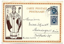 B424 / BELGIEN - Ganzsache Mi.Nr. P 44, Aufgewertet Zum Versand Nach Steiningen/Deutschland 28.4.33 - Cartas