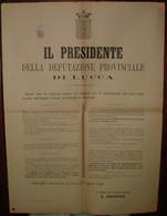 VIAREGGIO OSPIZIO MARINO - MANIFESTO DELLE NORME E ISTRUZIONI PER IL CONFERIMENTO DEI POSTI NELL'OSPIZIO - LUCCA 1899 - Affiches