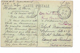 "LE 1189. CP Sm Ste-ADRESSE/POSTE Belge 22.III.17 + Man. ""Hôp. Milit. Belge/Rue Ancellot/Le Hâvre"" V.Camp Ruchard - Unbesetzte Zone"