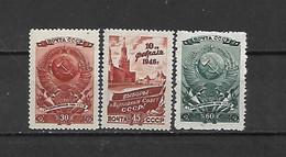 URSS - 1946 - N. 1037/39* (CATALOGO UNIFICATO) - Nuovi