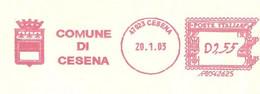 ITALIA - 2008 Comuni Italia: CESENA - Stemma: 3 Gigli - Ema Affrancatura Mecc.rossa Red Meter - Affrancatrice Difettosa - Marcophilie - EMA (Empreintes Machines)