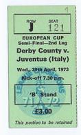 C19  B1) FOOTBALL Ticket Stub Press Card European Cup Semi-final Derby County - Juventus 25.04.1973  7,5x4,5cm - Sin Clasificación