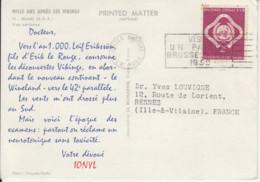 Timbre NATIONS UNIES De 1959 Sur Carte Postale MIAMI Avec Publicité Pharmacie - Cartas