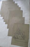 LOT Van 8 Stuks ORIGINELE Handgetekende Met Potlood ORNAMENTEN   1864  Gesigneerd  J .   PERIN - Andere