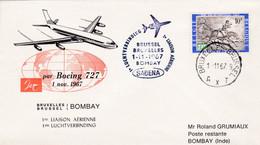 Enveloppe 1422 Sabena 1ère Liaison Aérienne Bruxelles Bombay Inde Avion Airplane Aircraft - Lettres & Documents
