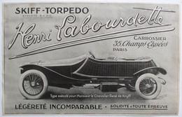 PUB 1914 AUTOMOBILE SKIFF TORPEDO HENRI LABOURDETTE CHAMPS ELYSEES PARIS POUR MONSIEUR LE CHEVALIER RENE DE KNYFF PILOTE - Advertising