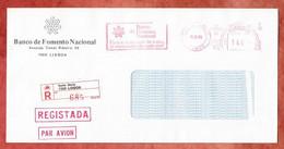 Luftpost, Einschreiben Reco, Bankbrief, Absenderfreistempel Banco De Fomento Nacional Santa Marta Lisboa, 1984 (2936) - Marcophilie - EMA (Empreintes Machines)